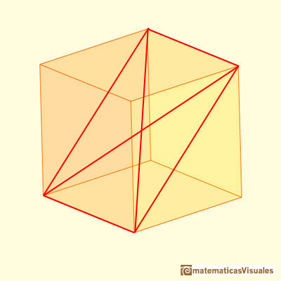 Rhombic Dodecahedron made by a cube and six pyramids: diagonal section of a cube | matematicasVisuales