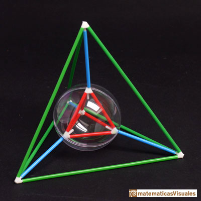 Building polyhedra 3d printing: tetrahedron. Insphere and Circumsphere | The central piece 3d printed | matematicasVisuales