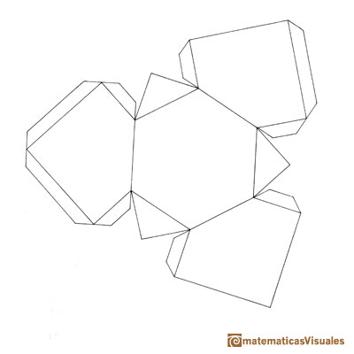 Resources, How to build polyhedra with cardboard (Plane Nets): Download, print, cut and build medio cubo, sección hexagonal de un cubo | matematicasVisuales