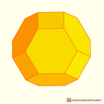 Cubo achaflanado: it is similar to the truncated octahedron. But the truncated octahedron have twelve hexagons that are regular| matematicasVisuales