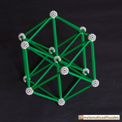 Volume of a cuboctahedron: zome, the distance from the center to each vertice is the edge length  | matematicasvisuales