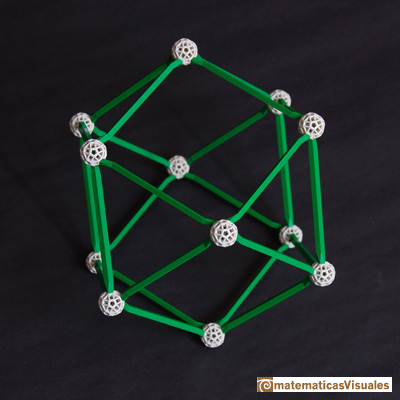 Volume of a cuboctahedron: building a cuboctahedron with zome | matematicasvisuales