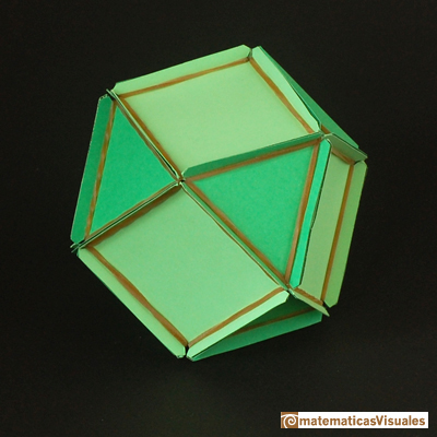Volume of a cuboctahedron: a cuboctahedron made with rubber bands and paper | matematicasvisuales