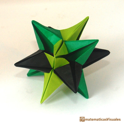 Cuboctaedro: Omega Star, origami modular, los vértices de la Omega Star son vértices de un cuboctaedro | Cuboctahedron and Rhombic Dodecahedron | matematicasVisuales
