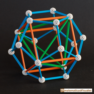 Dodecahedron: A tetrahedron inside a cube inside a dodecahedron, Zome model | matematicasVisuales