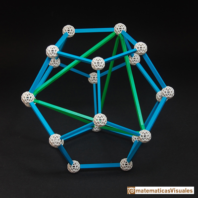 Dodecahedron: A tetrahedron inside a dodecahedron, paper model, Zome model | matematicasVisuales