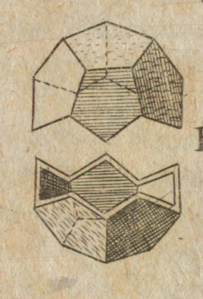 Dodecaedro: Kepler drawing of a dodecahedron in 'Harmonices Mundi - The Harmony of the World' | matematicasVisuales