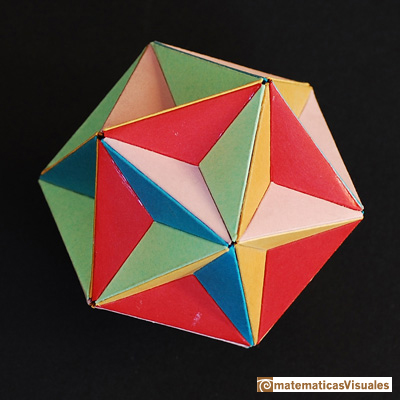 Dodecaedro: gran dodecaedro, poliedro Kepler-Poinsot, modelo de cartulinas de colores | Cuboctahedron and Rhombic Dodecahedron | matematicasVisuales