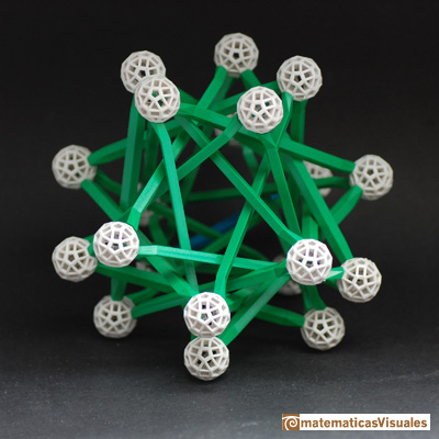 Dodecahedron: five tetrahedra inside a dodecahedron, Zome model | matematicasVisuales