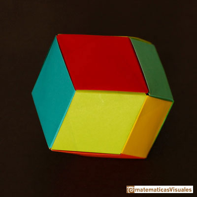 Dodecahedron rómbico origami | Cuboctahedron and Rhombic Dodecahedron | matematicasVisuales