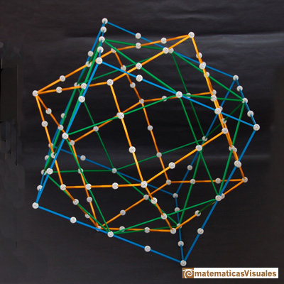 Dualidad cuboctaedro y dodecaedro rómbico, Zome | Cuboctahedron and Rhombic Dodecahedron | matematicasVisuales