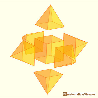 Pyramidated cube and Rhombic Dodecahedron: you can separate pyramids | matematicasvisuales