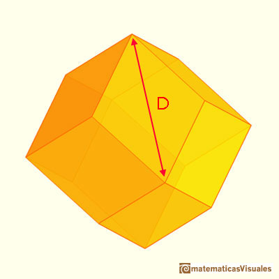Pyramidated cube and Rhombic Dodecahedron: calculating the diagonal of one rhombi | matematicasvisuales