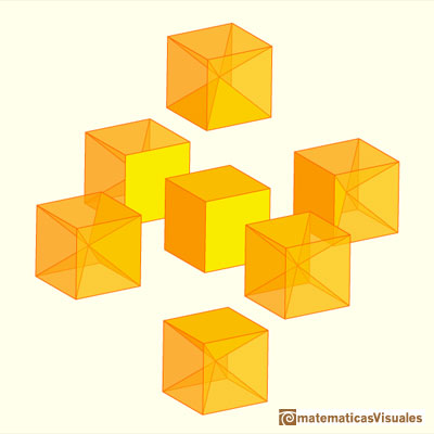 Rhombic Dodecahedron made by a cube and six pyramids | matematicasVisuales