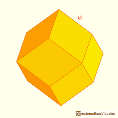 Rhombic Dodecahedron made by a cube and six pyramids: edge length | matematicasVisuales