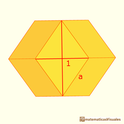 Pyramidated cube and Rhombic Dodecahedron: the length of the side of a Rhombic Dodecahedron | matematicasVisuales