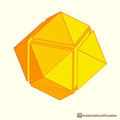 Cubo con seis pirámides | Cuboctahedron and Rhombic Dodecahedron | matematicasVisuales