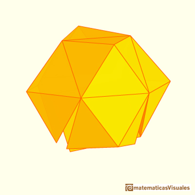 Cubo y dodecaedro rómbico son 'reversibles' | Cuboctahedron and Rhombic Dodecahedron | matematicasVisuales