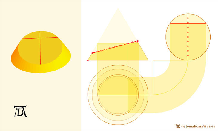 durer and conic sections, ellipses: example using the interactive application  | matematicasVisuales