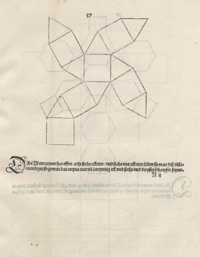 Volumen del cuboctaedro: plane net of a cuboctahedron drawn by Durer | matematicasvisuales